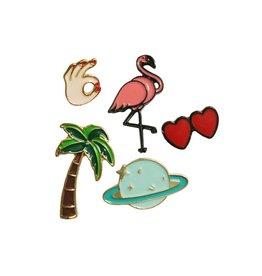 Pin setje flamingo