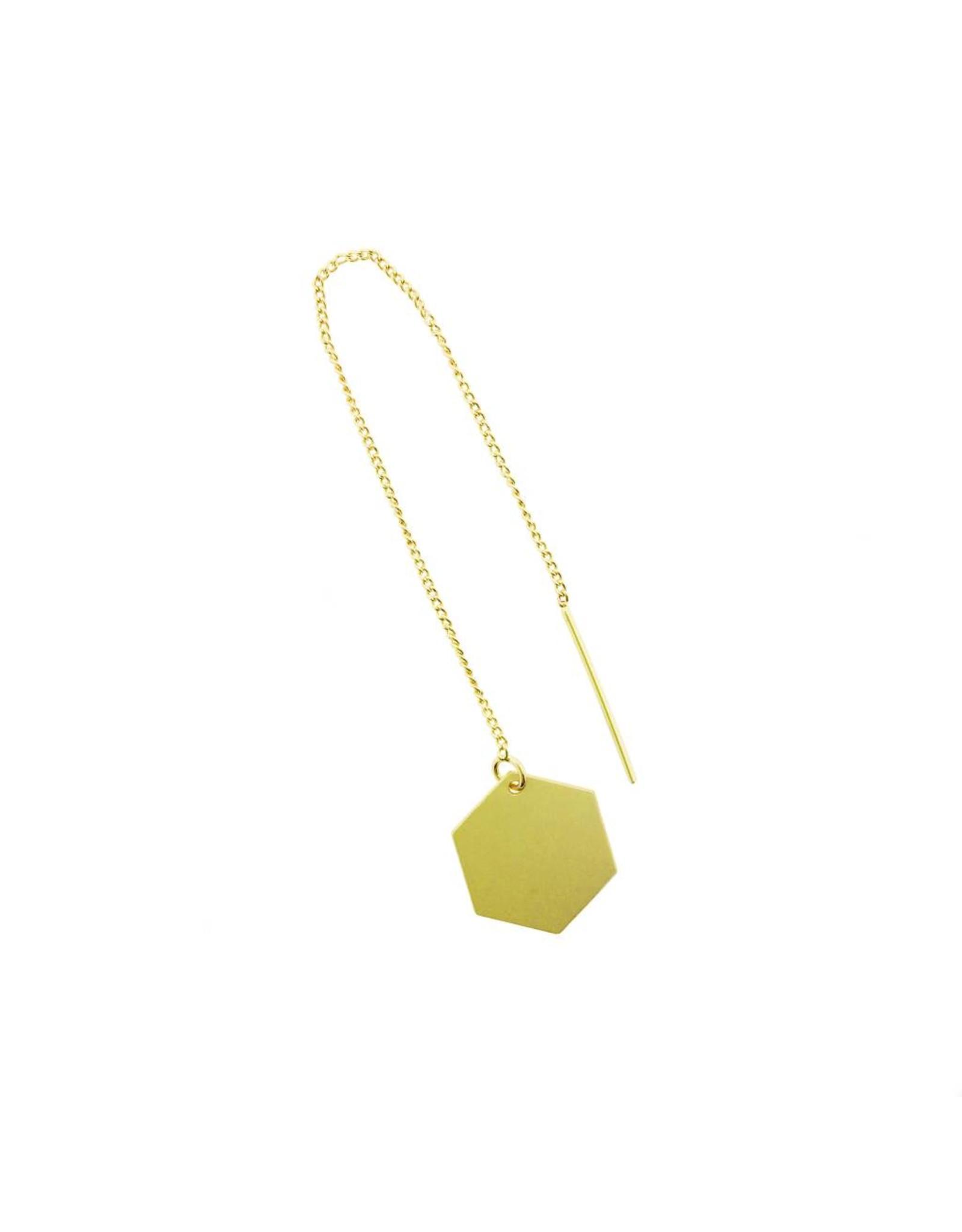 oorbEllen mix&match zeshoekje mat goud doortrekker goud