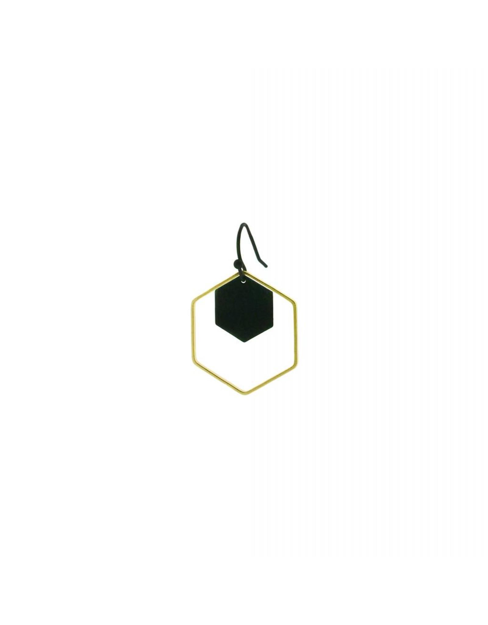 oorbEllen mix&match zeshoeken zwart + goud