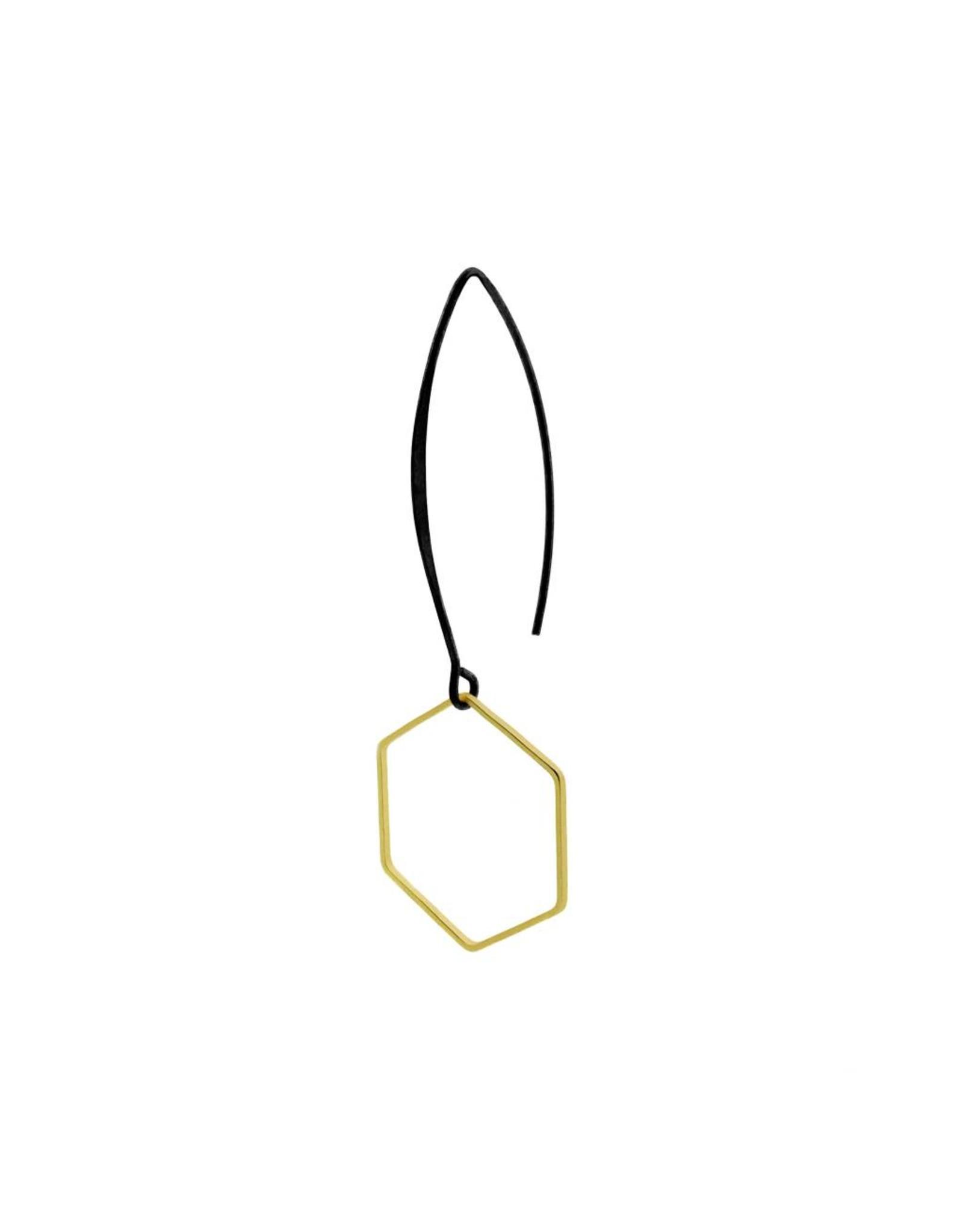 oorbEllen mix&match zeshoek mat goud lange hanger zwart