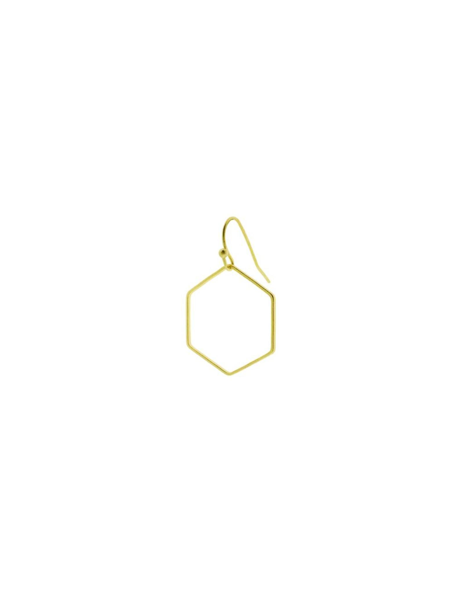 oorbEllen mix&match zeshoek mat goud korte hanger goud