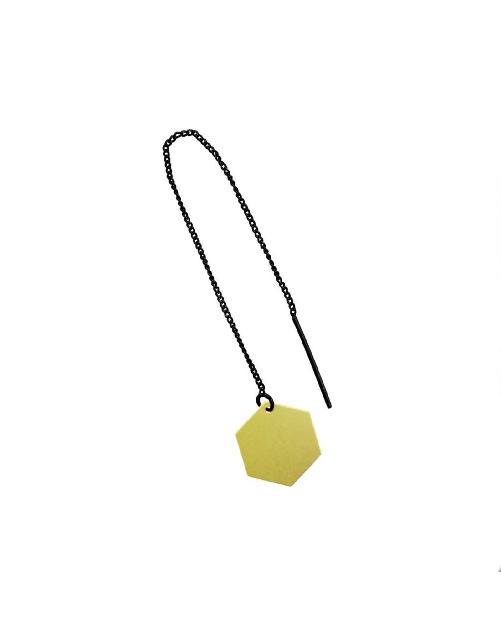 oorbEllen mix&match zeshoekje mat goud doortrekker zwart