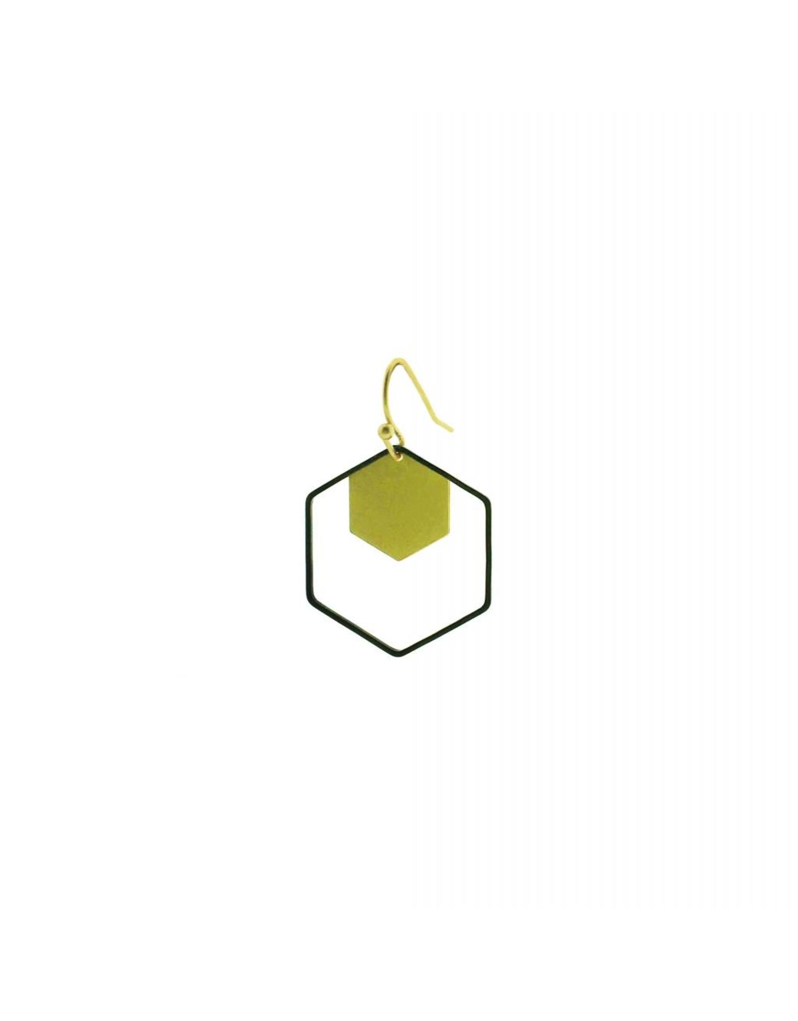 oorbEllen mix&match zeshoeken goud + zwart