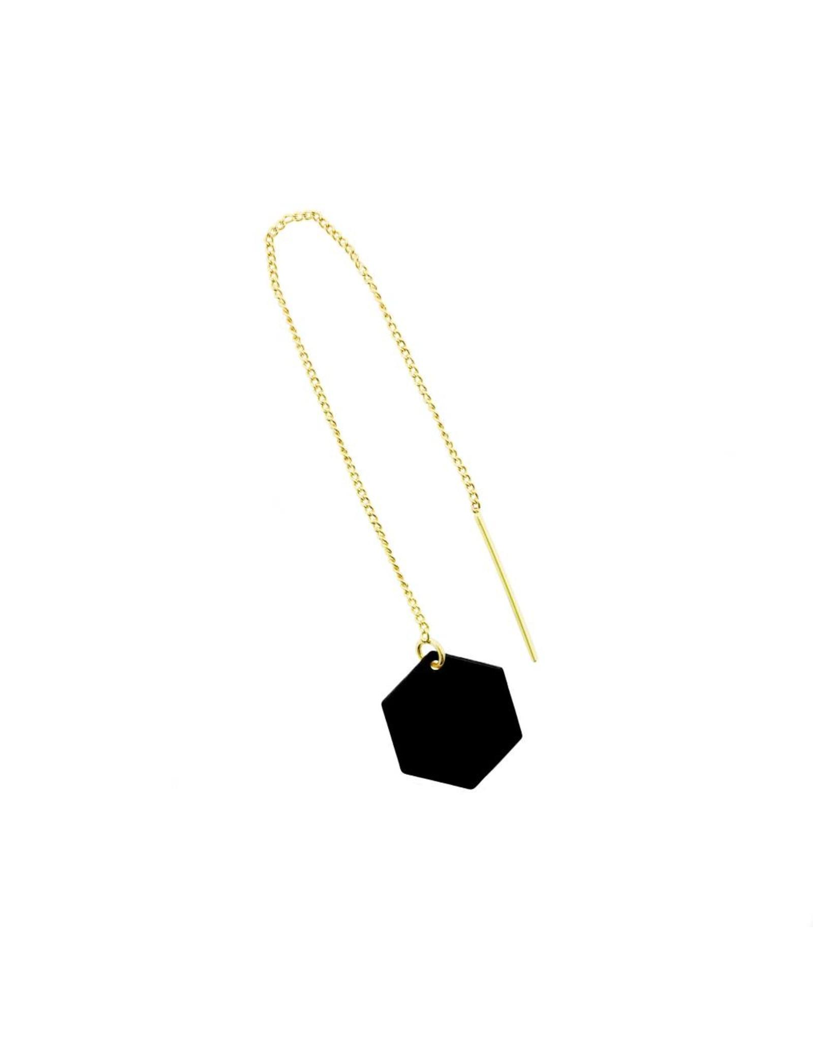 oorbEllen mix&match zeshoekje mat zwart doortrekker goud