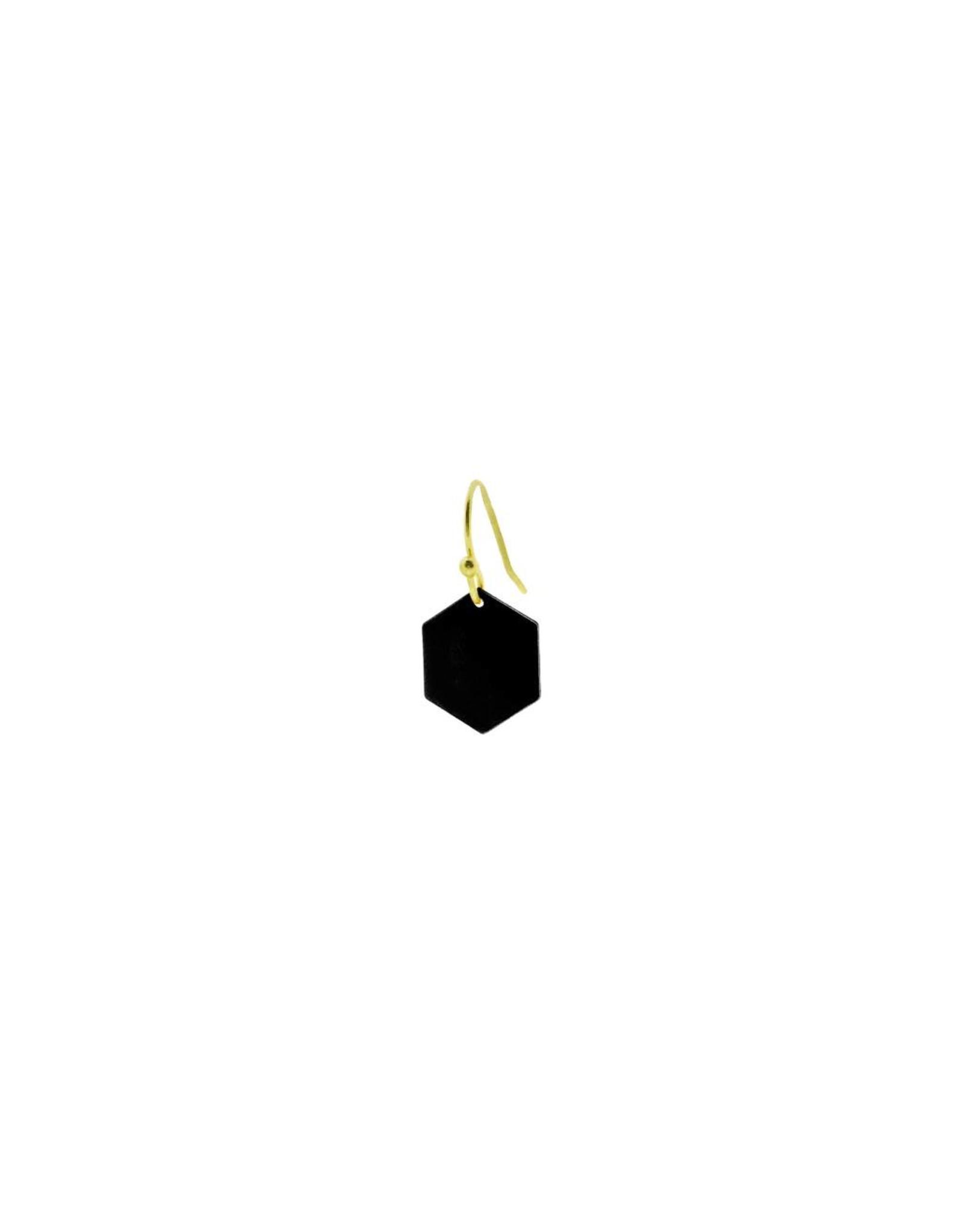 oorbEllen mix&match zeshoekje mat zwart korte hanger goud