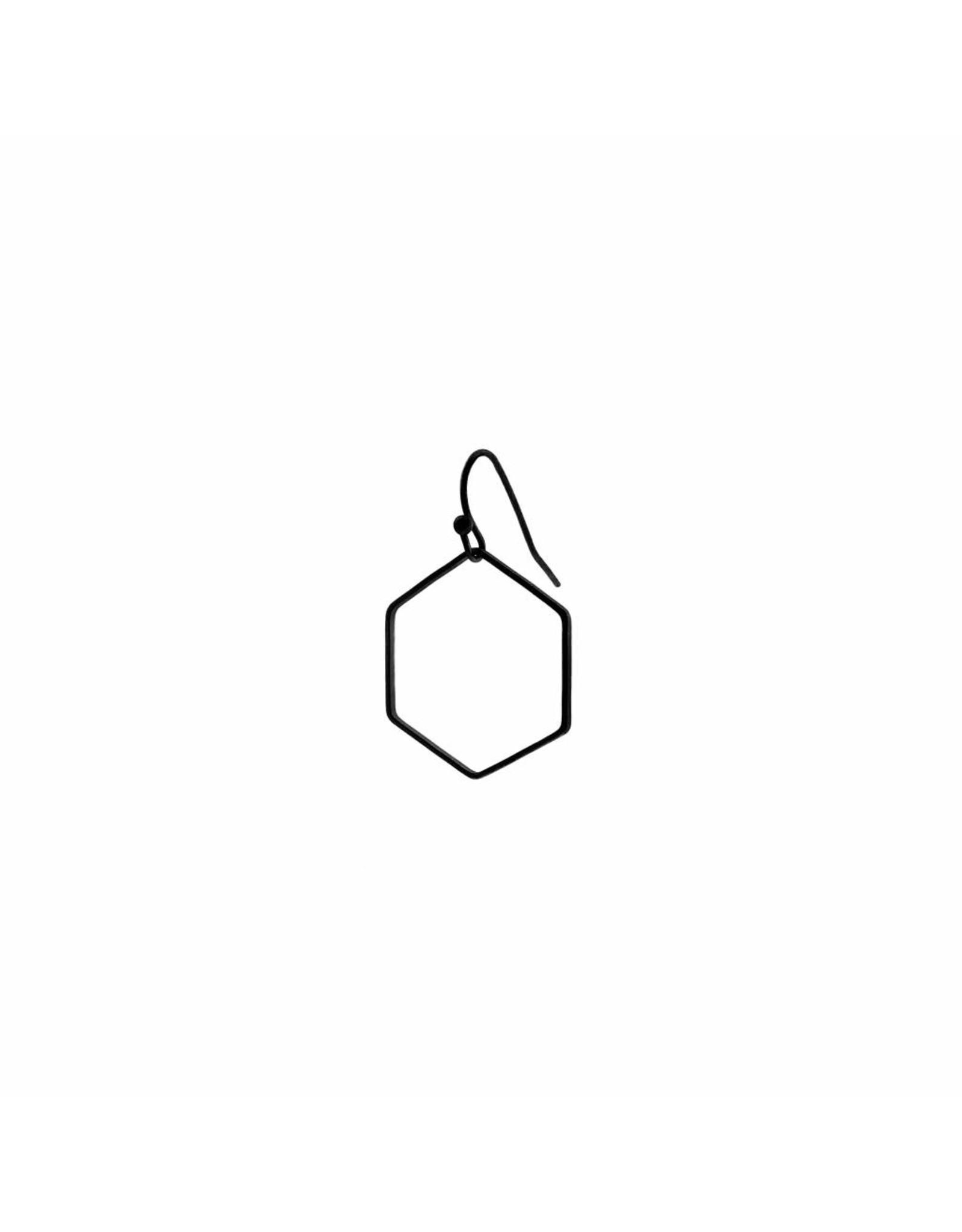 oorbEllen mix&match zeshoek mat zwart korte hanger zwart