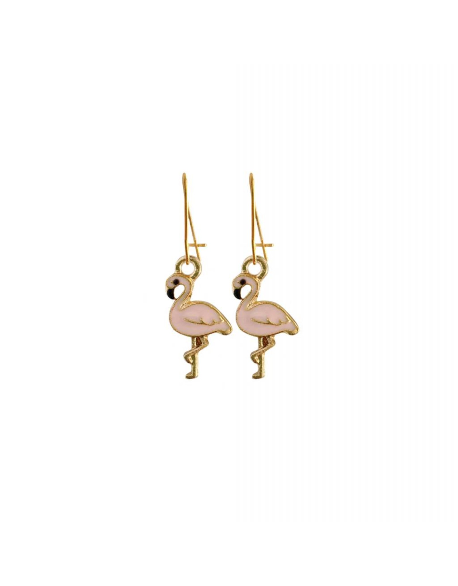 oorbEllen goudkleurig email flamingo lichtroze