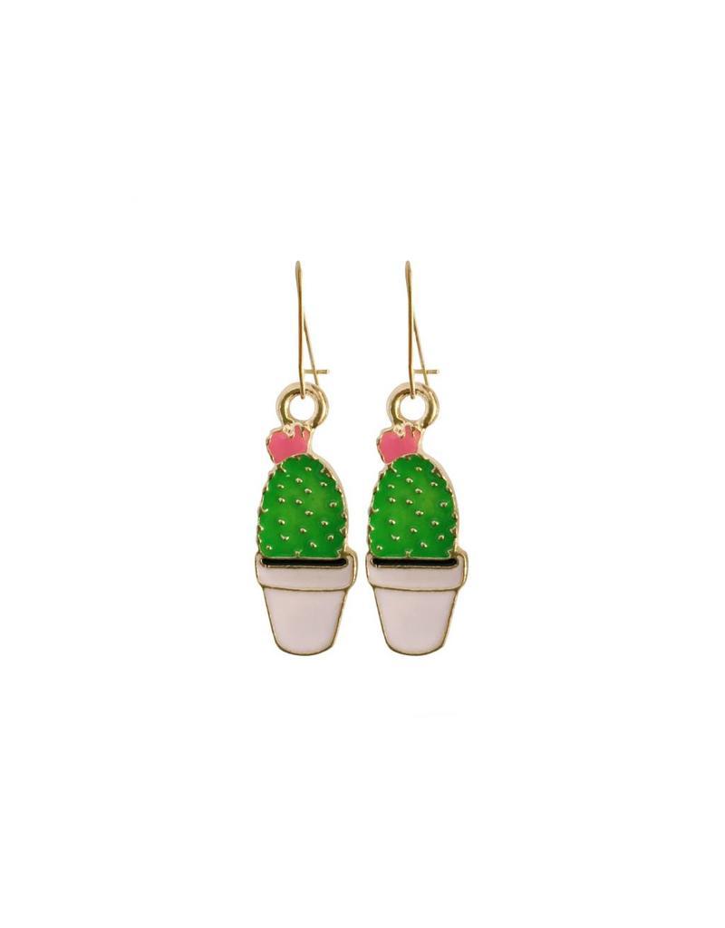 oorbEllen goudkleurig email cactus