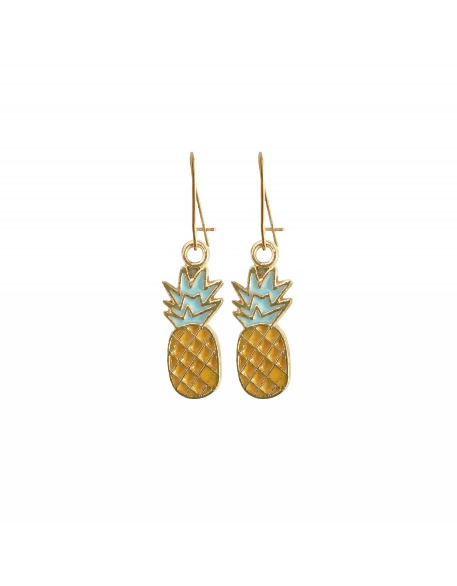 oorbEllen goudkleurig email ananas