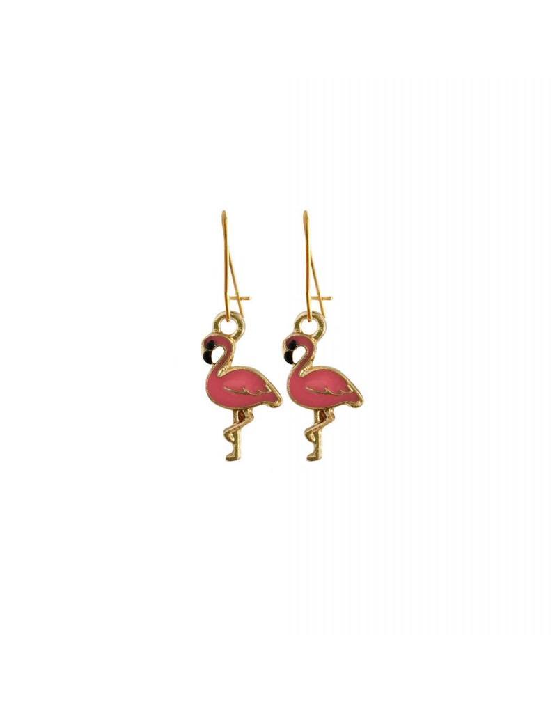 oorbEllen goudkleurig email flamingo fuchsia