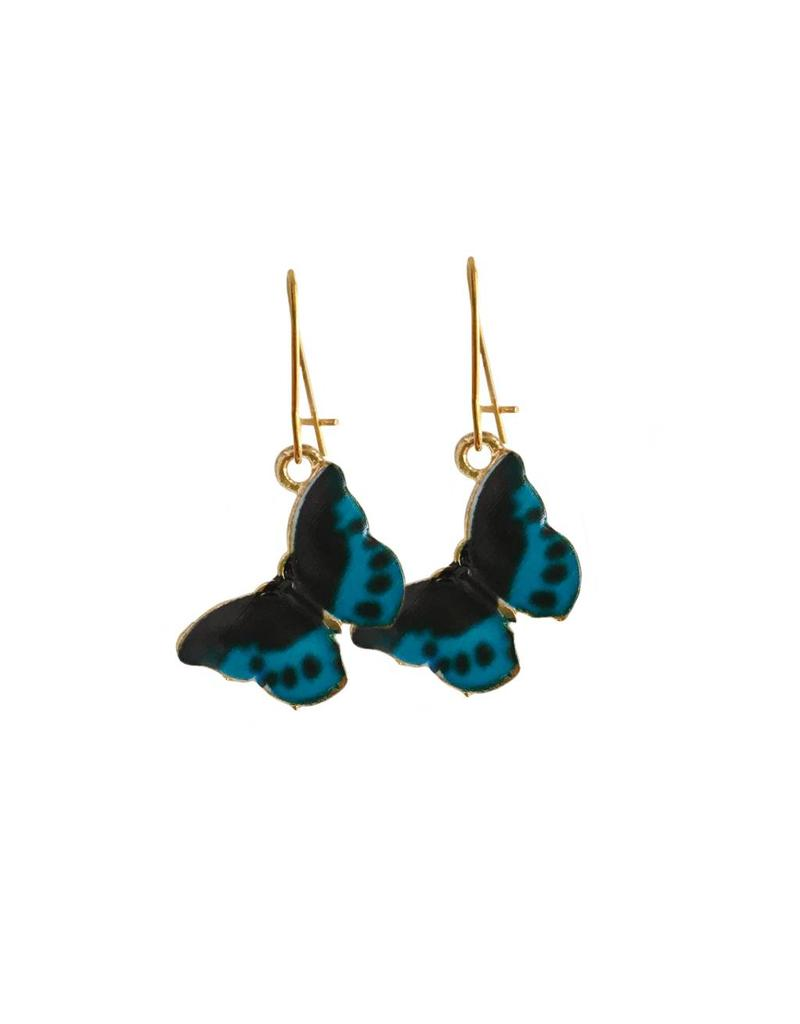 oorbEllen goudkleurig email vlinder blauw
