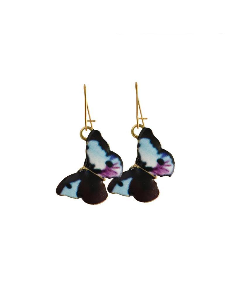 oorbEllen goudkleurig email vlinder paars