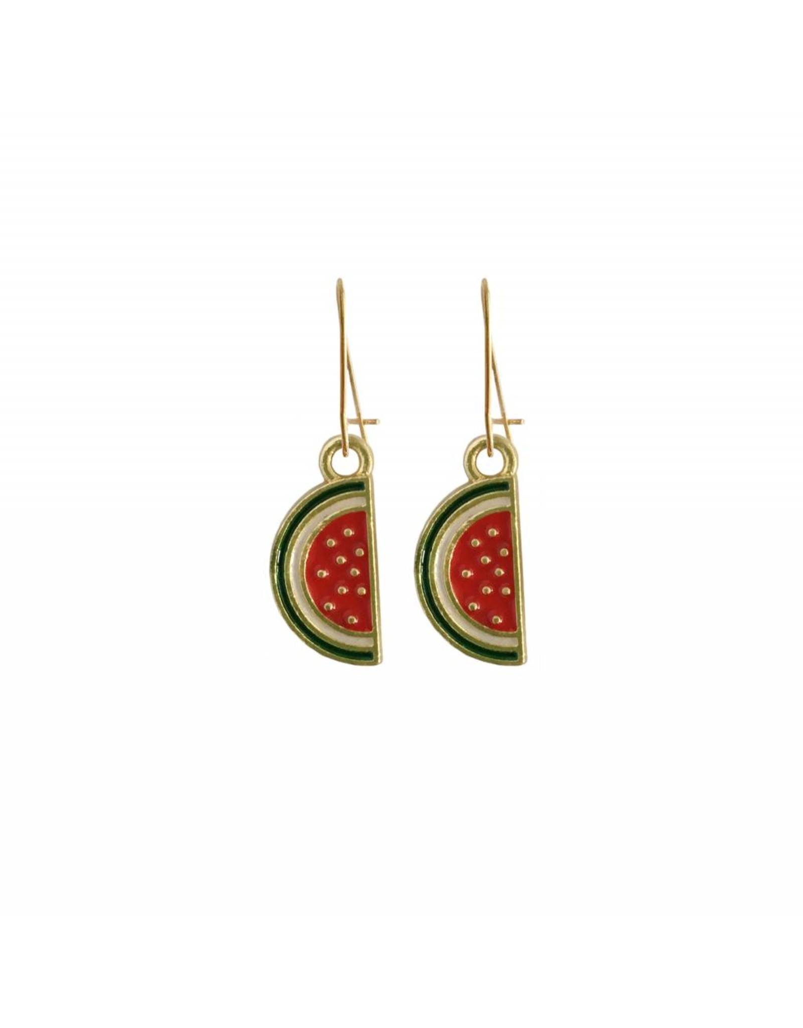 oorbEllen goudkleurig email watermeloen half