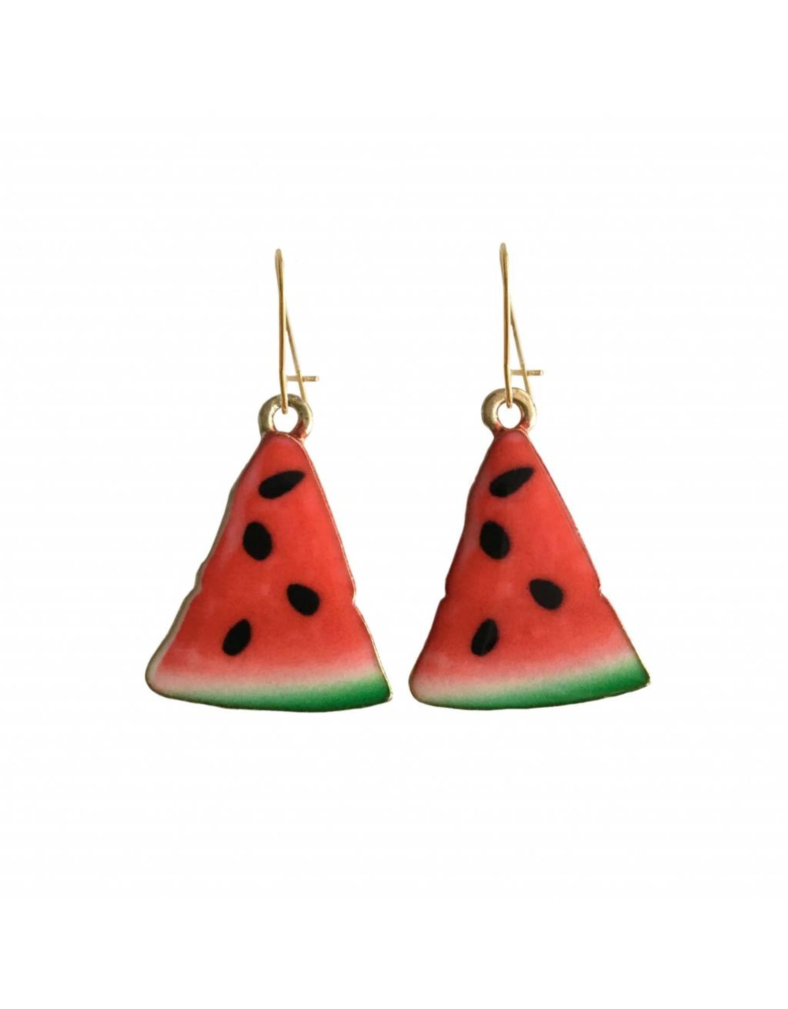 oorbEllen goudkleurig email watermeloen groot