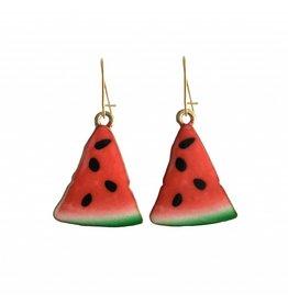 oorbEllen goudkleurig email vlinder watermeloen groot