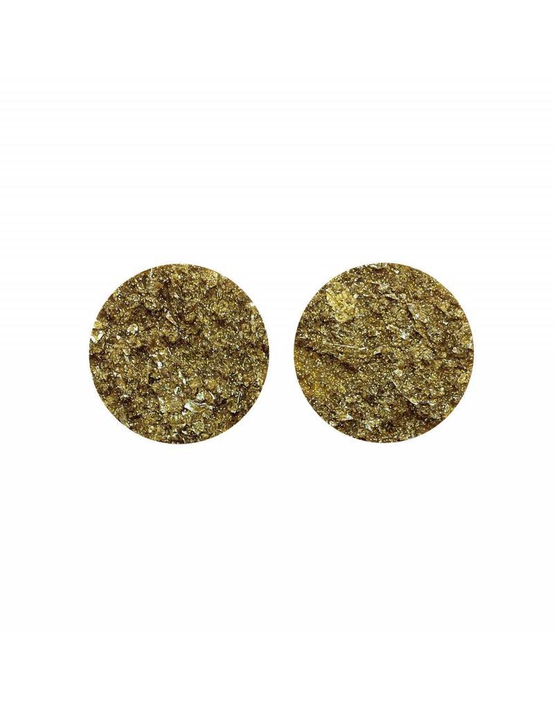 oorbEllen stekers plat 20mm spikkel goud