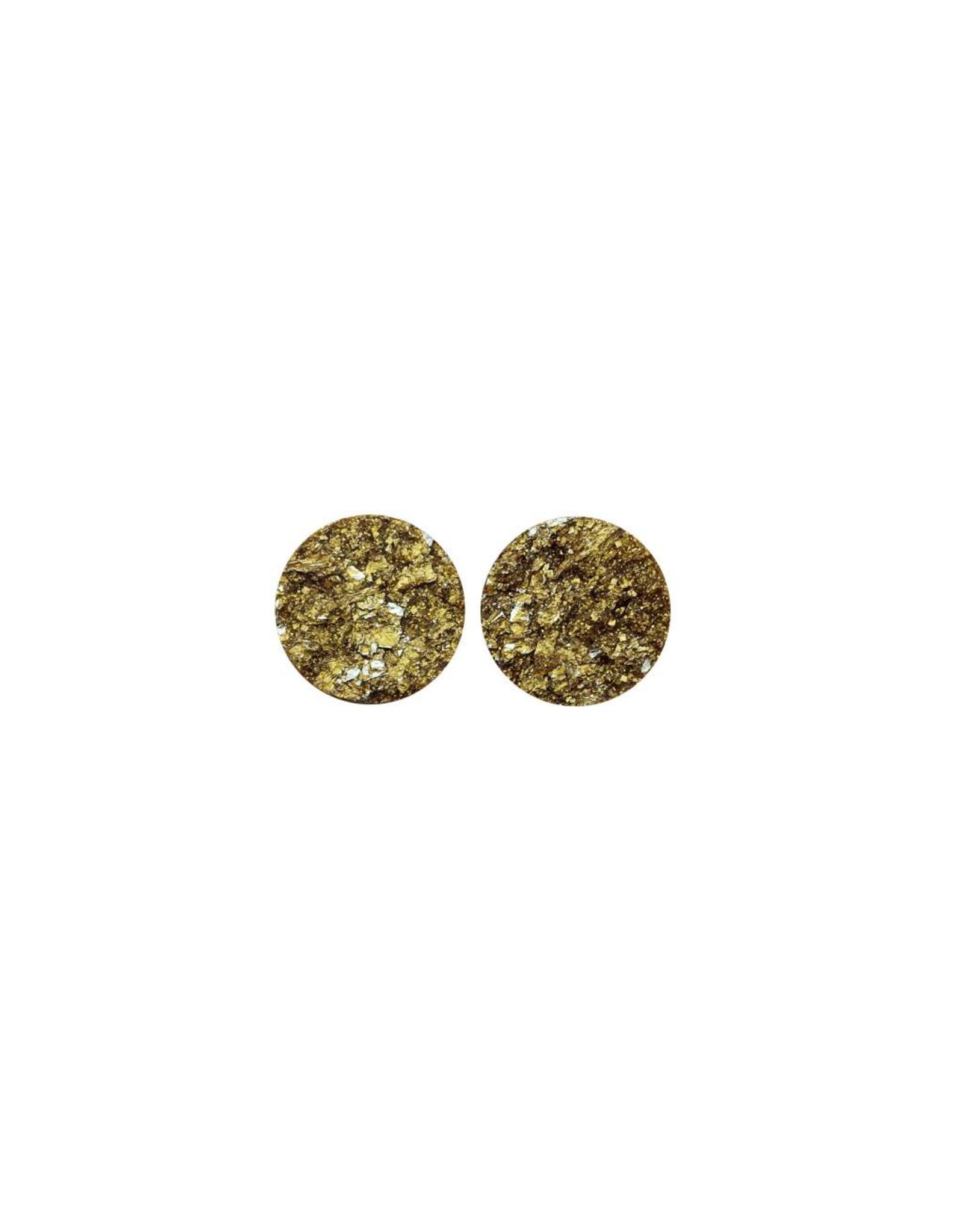 oorbEllen stekers plat 12mm spikkel goud