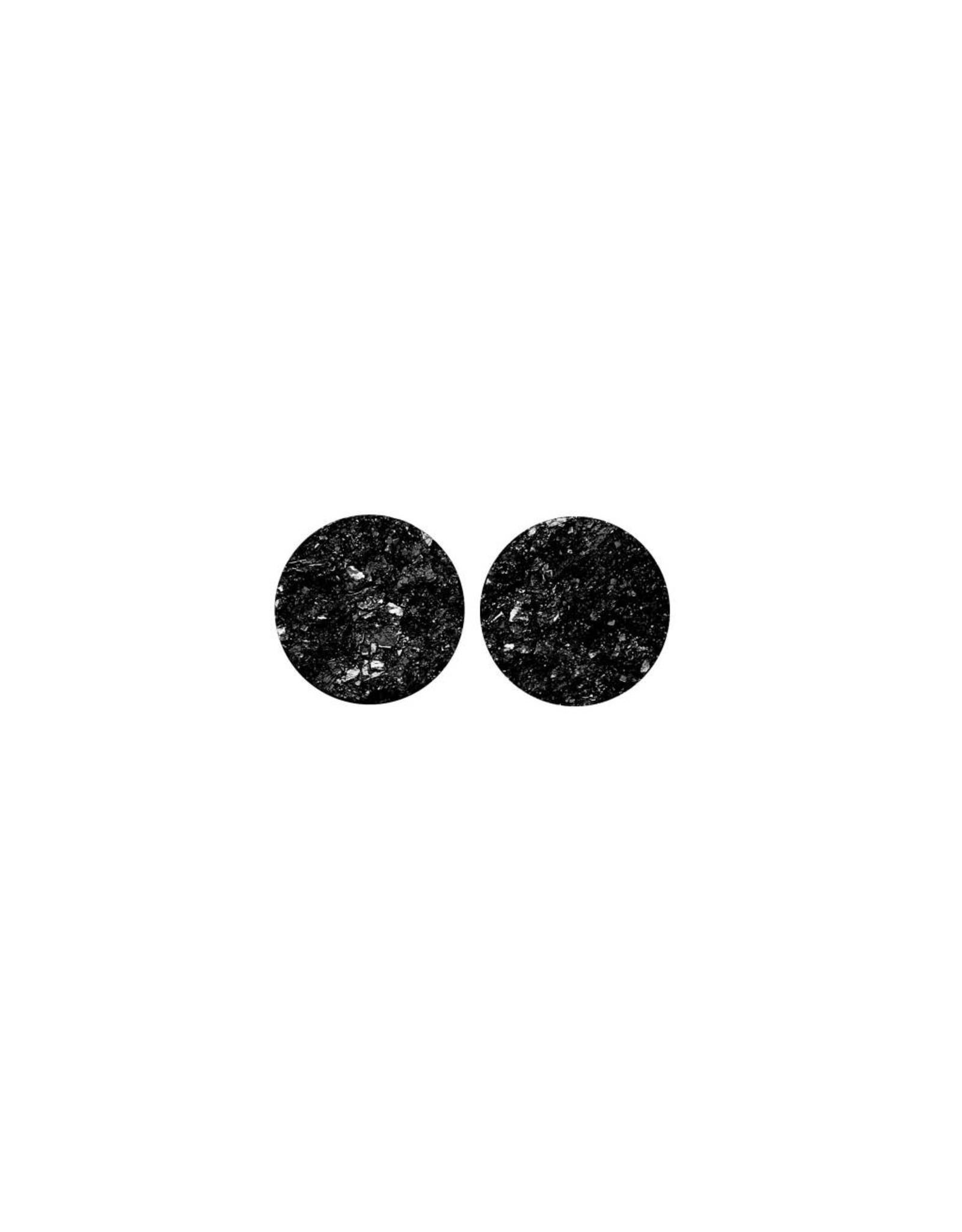 oorbEllen stekers plat 12mm spikkel zwart