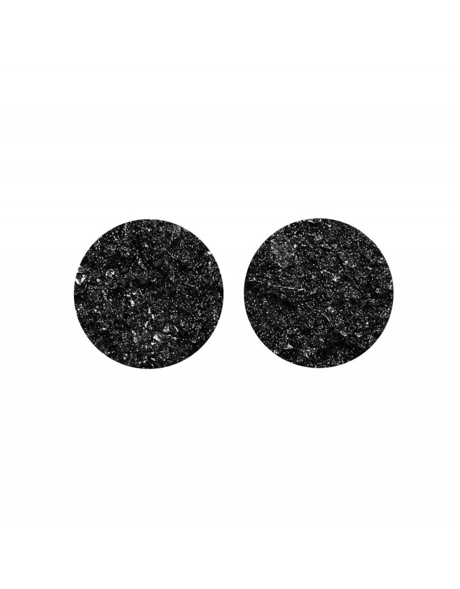 oorbEllen stekers plat 20mm spikkel zwart