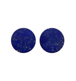 oorbEllen stekers plat 20mm blauw/goud
