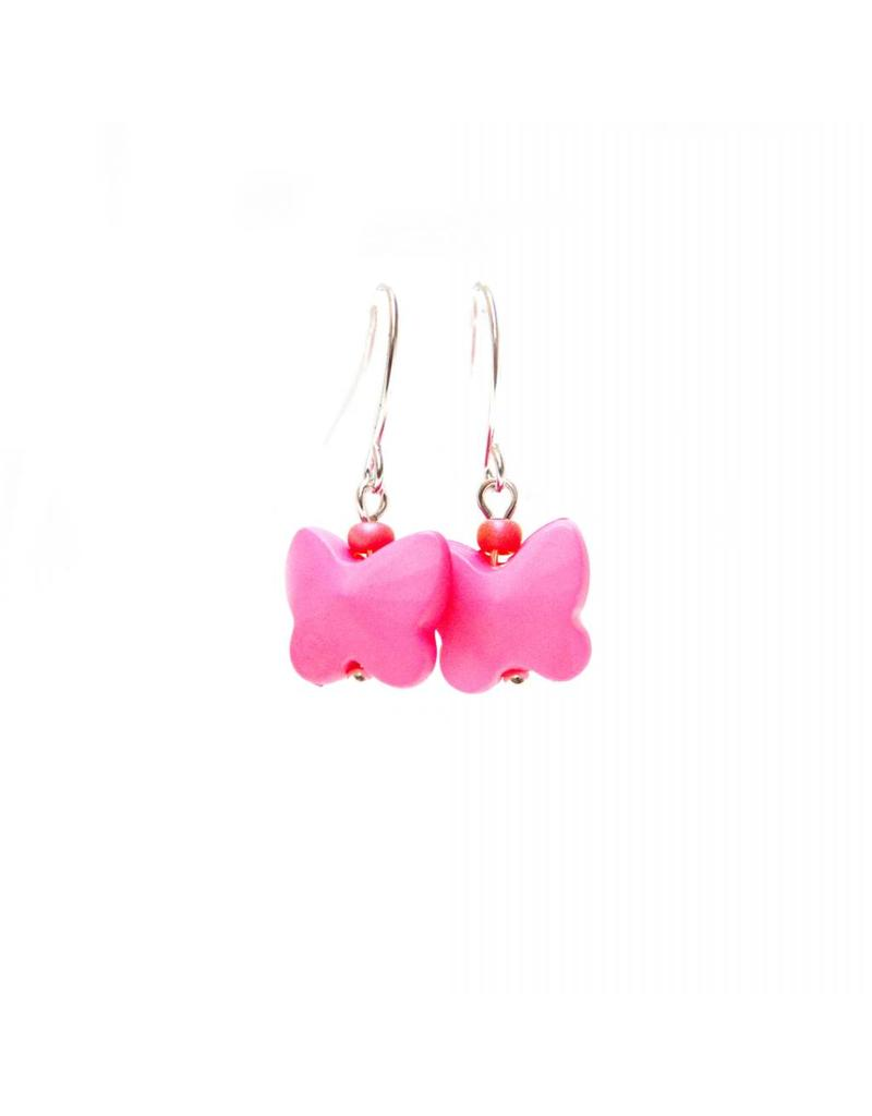 oorbEllen vlindertjes roze