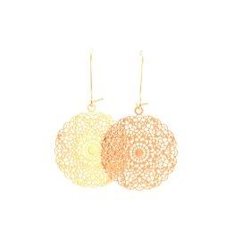 oorbEllen rose goudkleurig hangertje 24mm