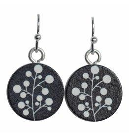 oorbEllen hout hangertje bloem zwart