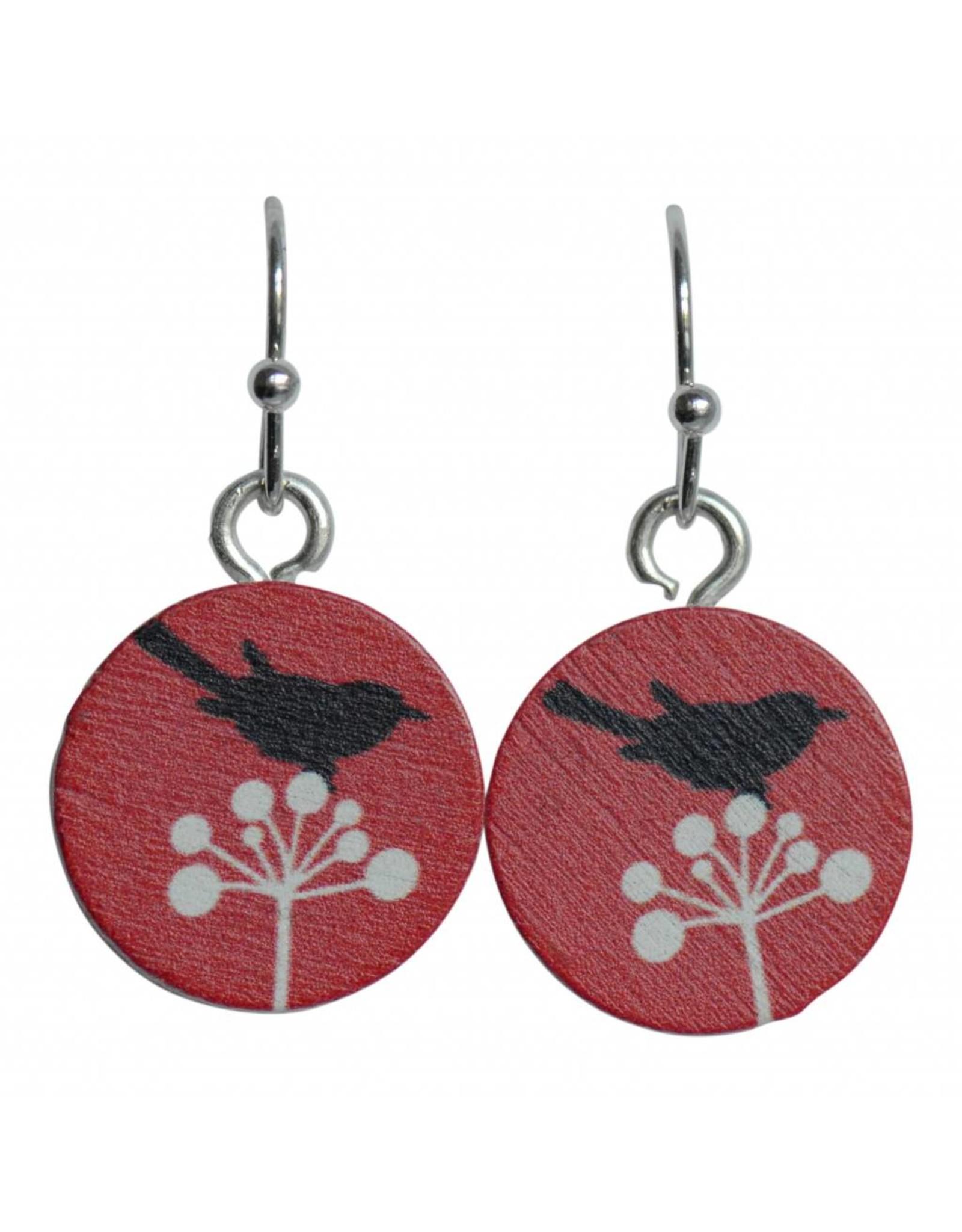 oorbEllen hout hangertjes vogel rood