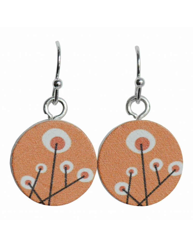 oorbEllen hout hangertjes retro bloem oranje