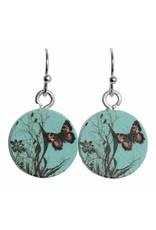 oorbEllen hout hangertjes vlinder rond blauw