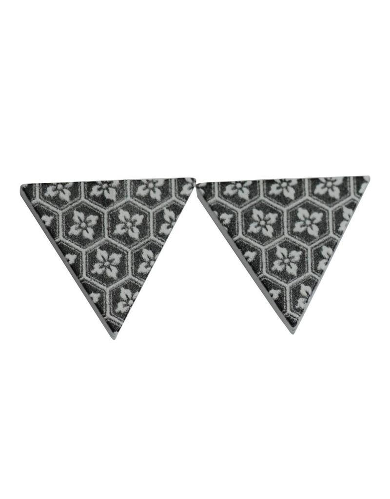 oorbEllen hout stekers bloemetjes driehoek zwart