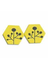 oorbEllen hout stekers bloem grafisch zeshoek geel
