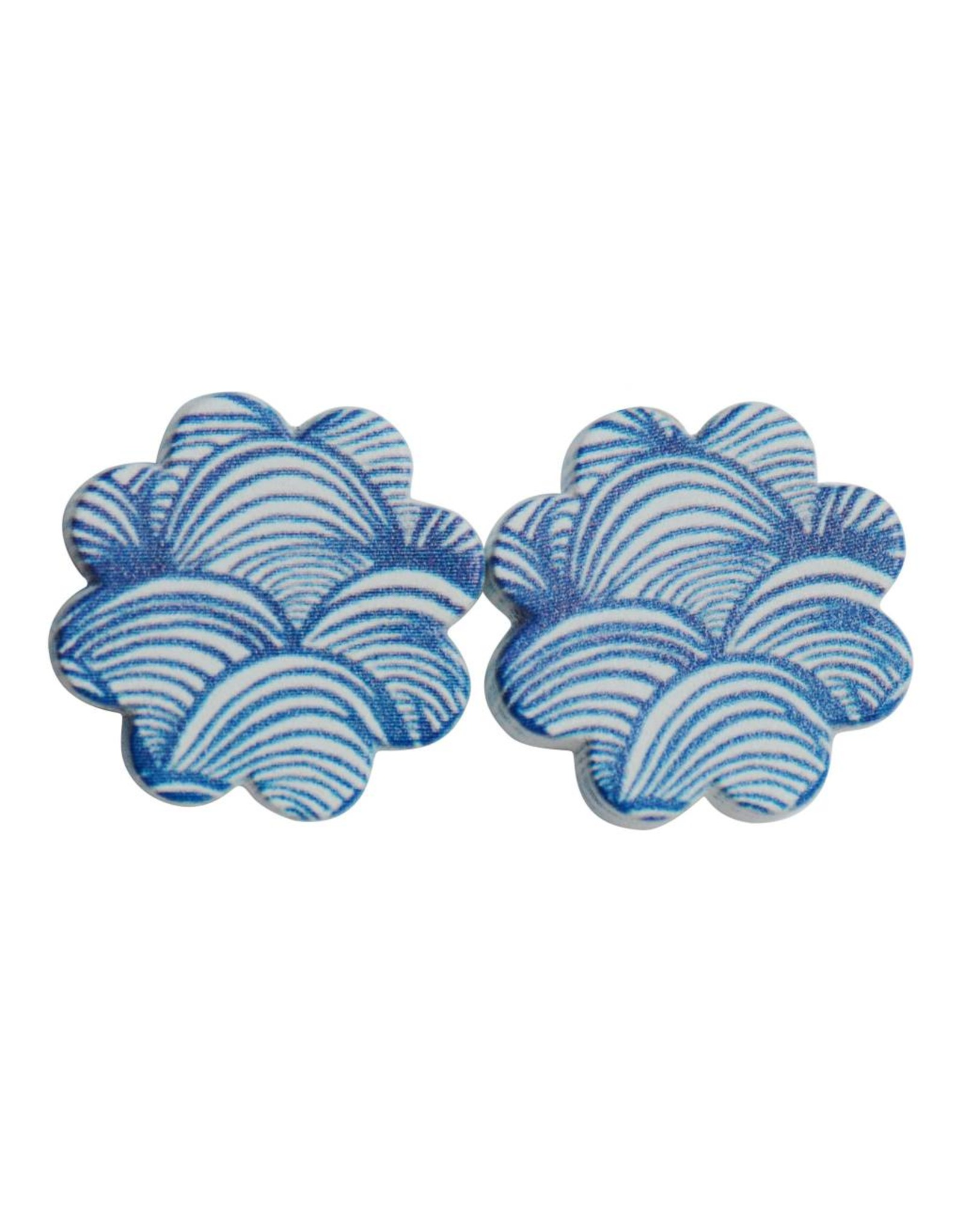 oorbEllen hout stekers golfjes blauw bloem