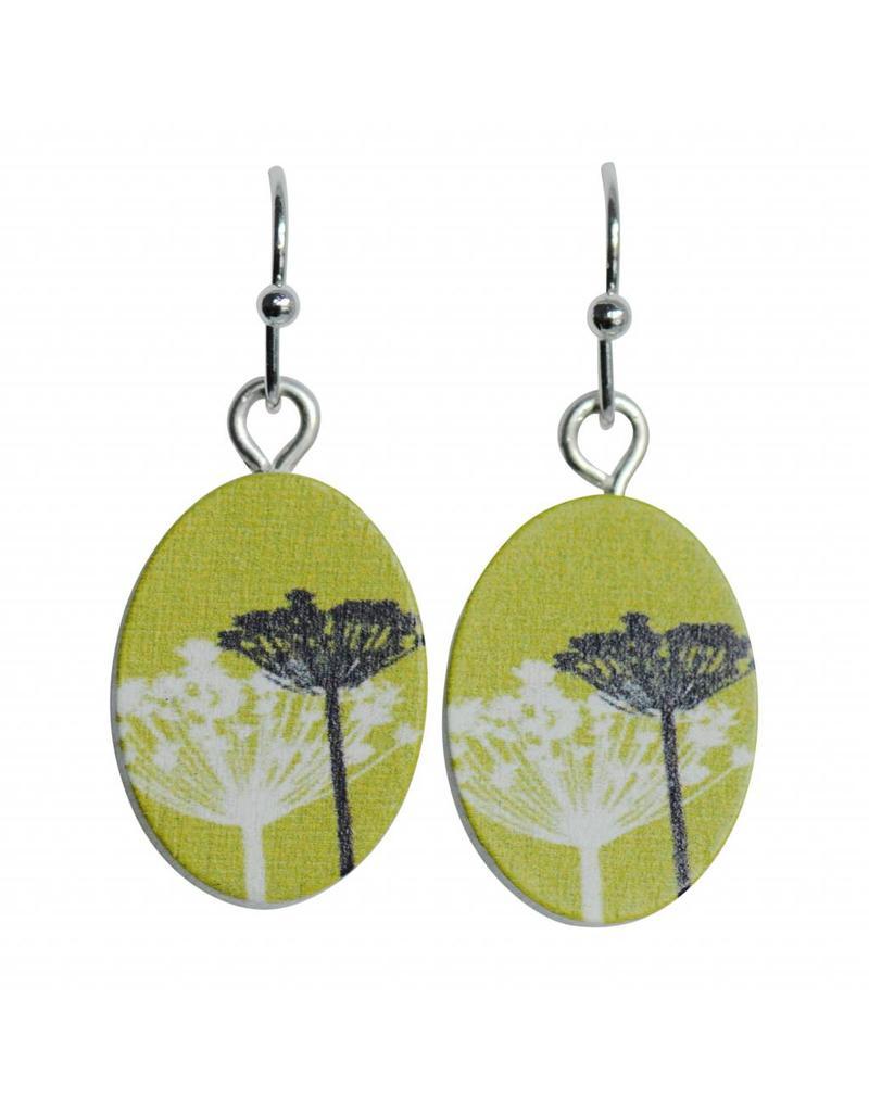oorbEllen hout hangertjes blaasbloem ovaal groen