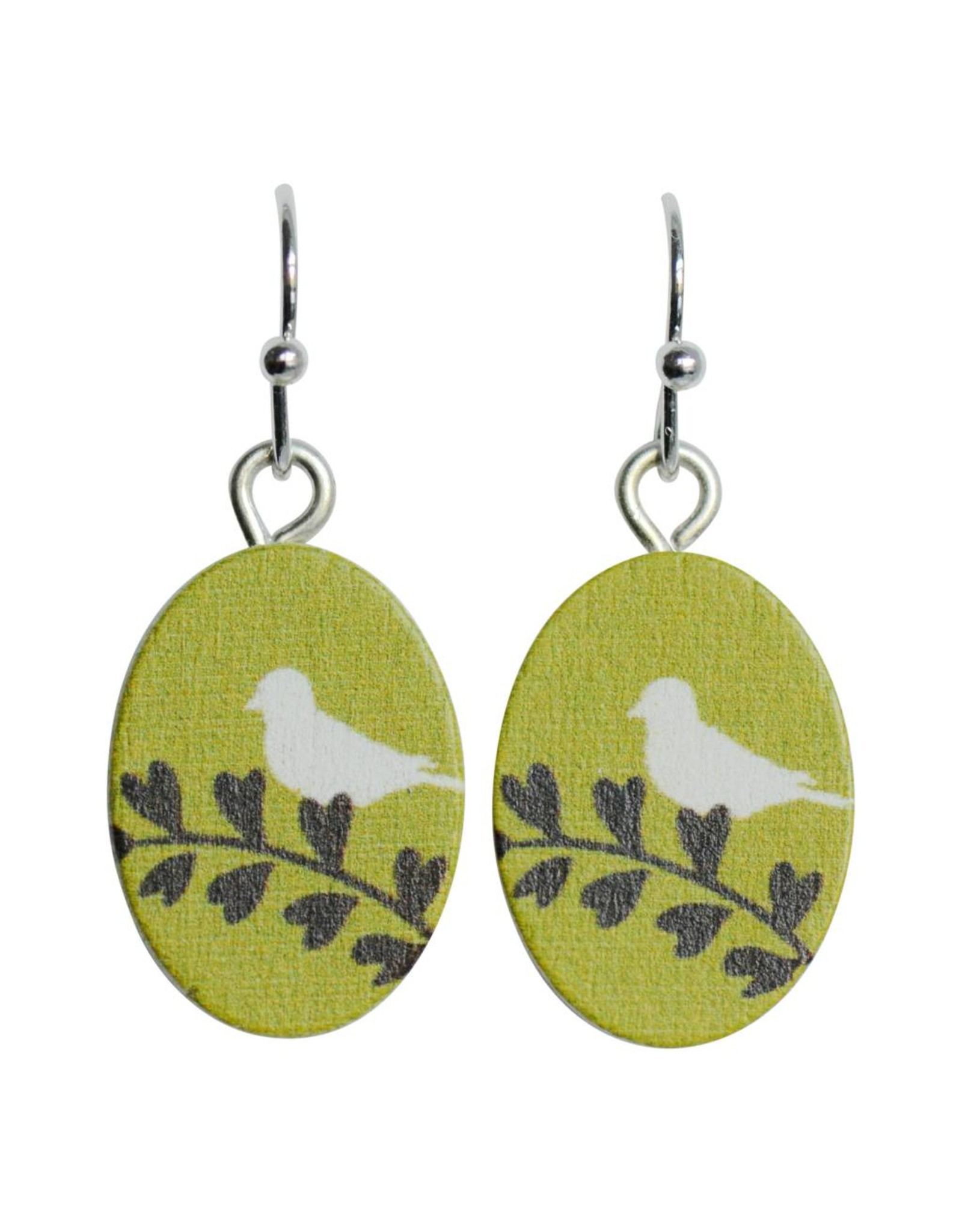 oorbEllen hout hangertjes vogel ovaal groen