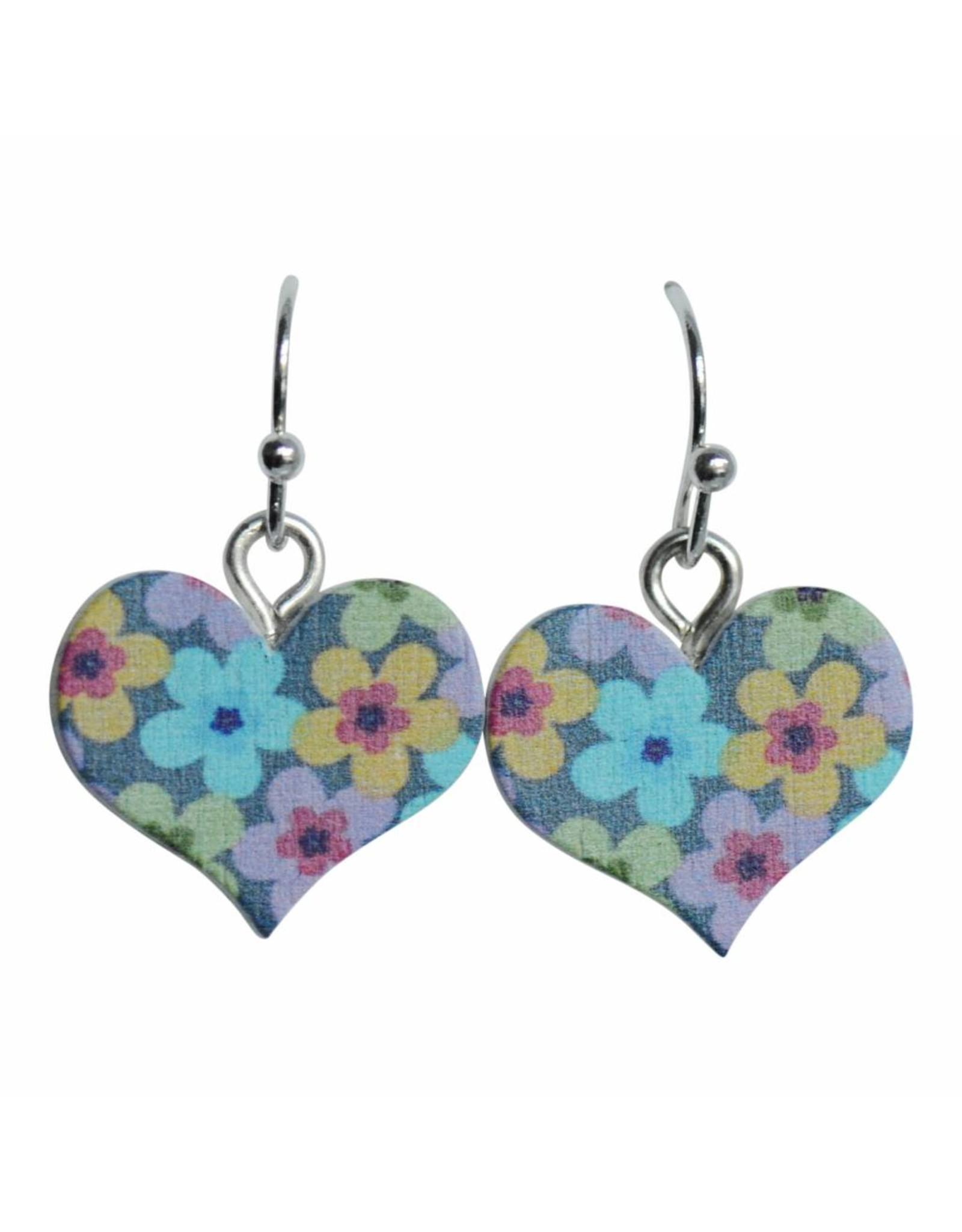 oorbEllen hout hangertjes bloem hartje