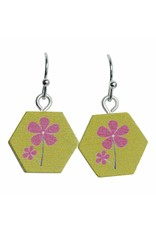 oorbEllen hout hangertjes bloem zeshoek groen