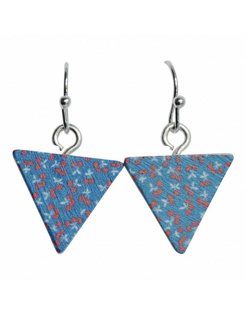 oorbEllen hout hangertjes kersjes driehoek