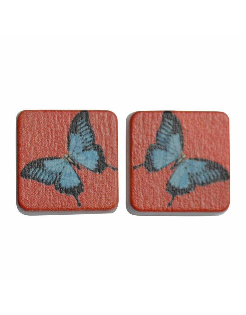 oorbEllen hout stekers vlinder vierkant rood