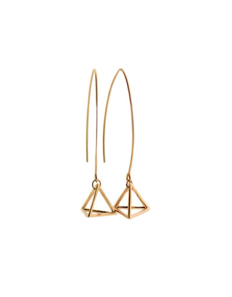 oorbEllen 3D lang piramide rose goudkleurig