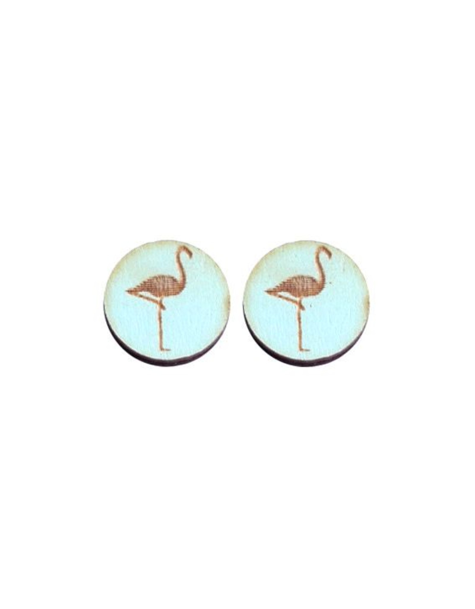 oorbEllen stekers hout flamingo turquoise