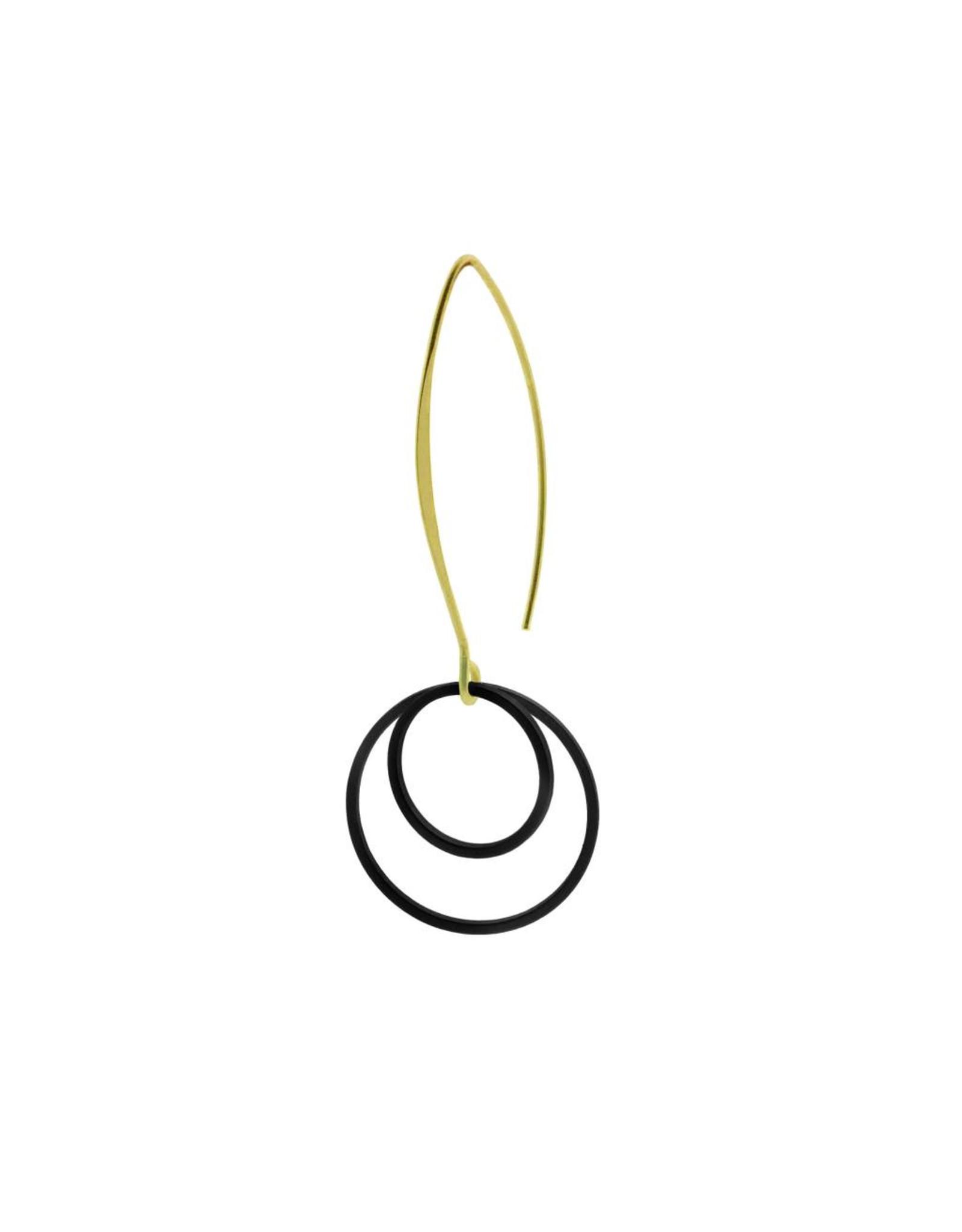 oorbEllen mix&match cirkels dubbel mat zwart lange hanger goud