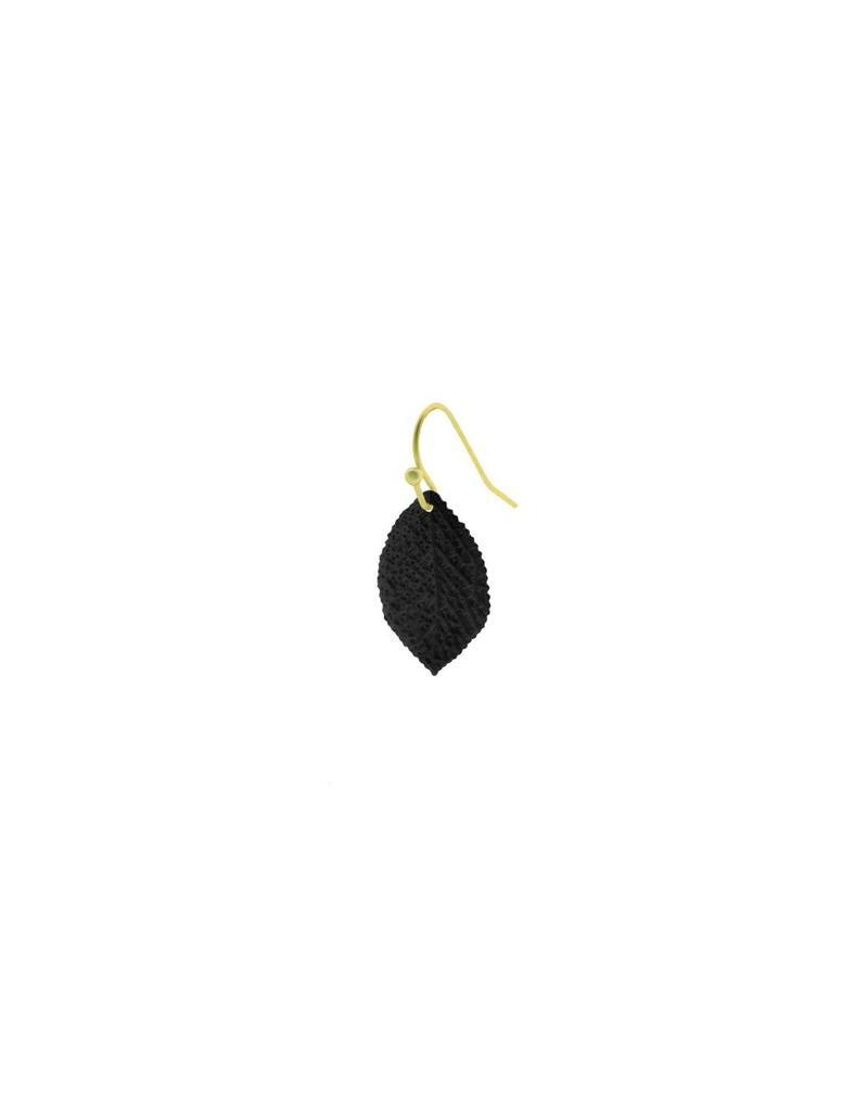 oorbEllen mix&match blaadje generfd mat zwart kort haakje goud