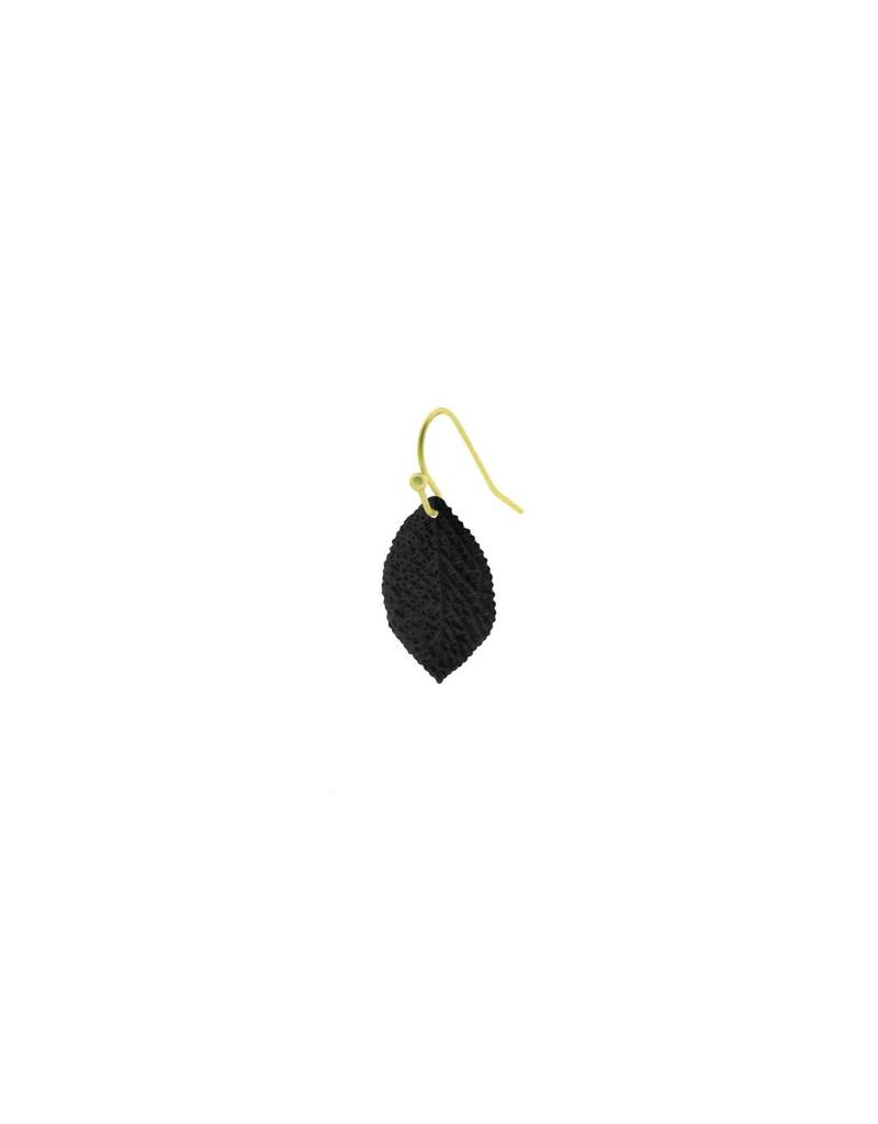 oorbEllen mix&match mat zwart generfd blaadje haakje goud