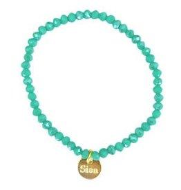 armbandje strass 4mm turquoise