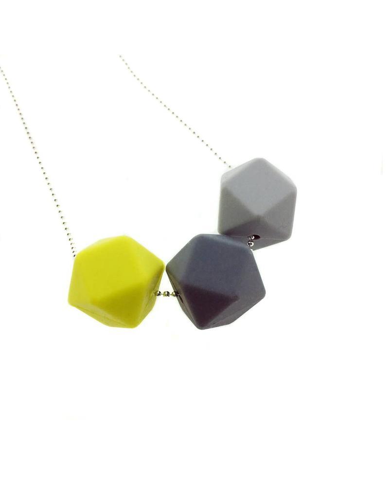 Siliconen ketting met bolletjesketting 3 zeshoeken