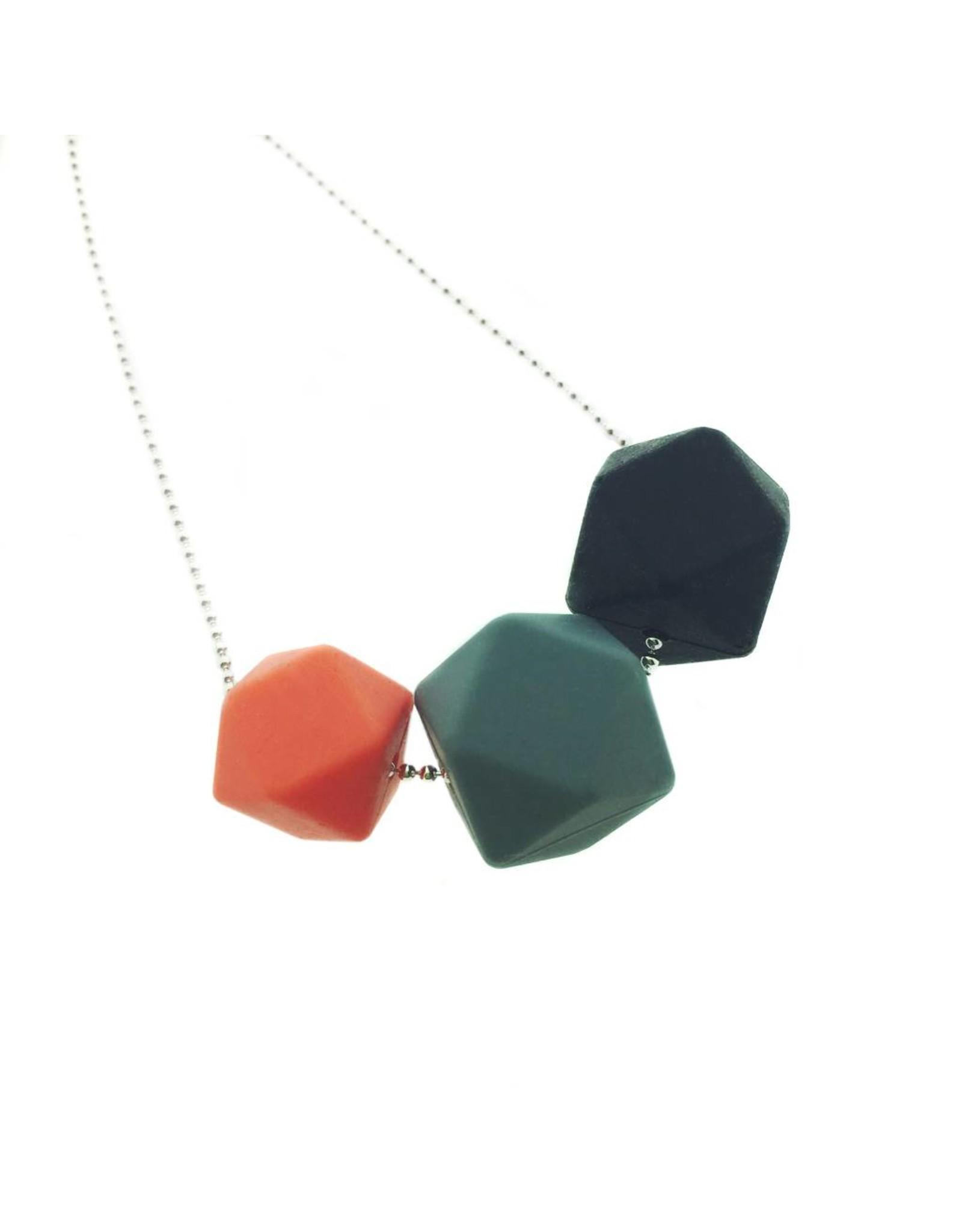 Siliconen ketting met bolletjesketting zeshoek klein - 2 zeshoeken
