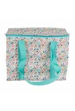 Picknicktas bloemetjes turquoise