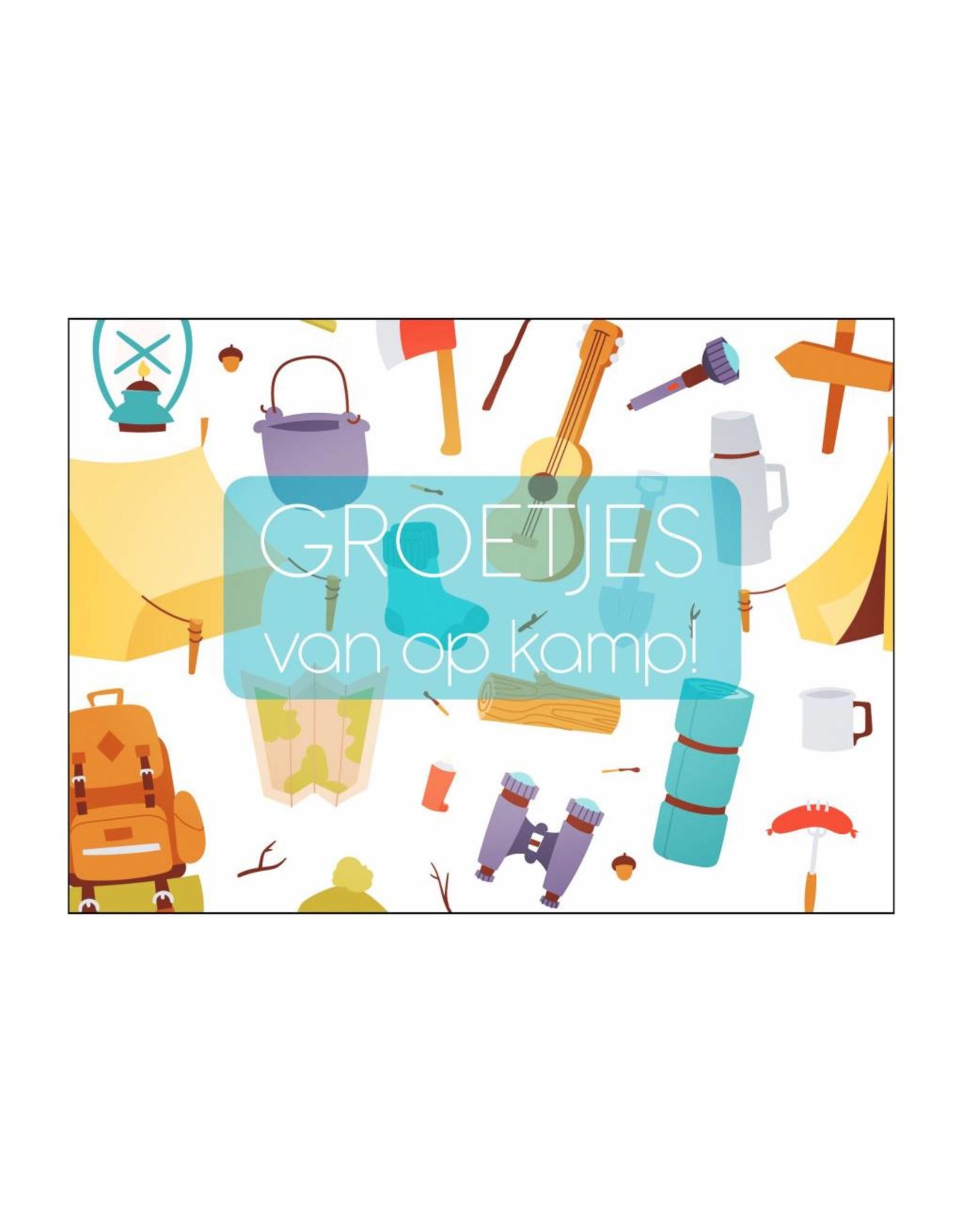 Postkaart invul Groetjes van op kamp tekening