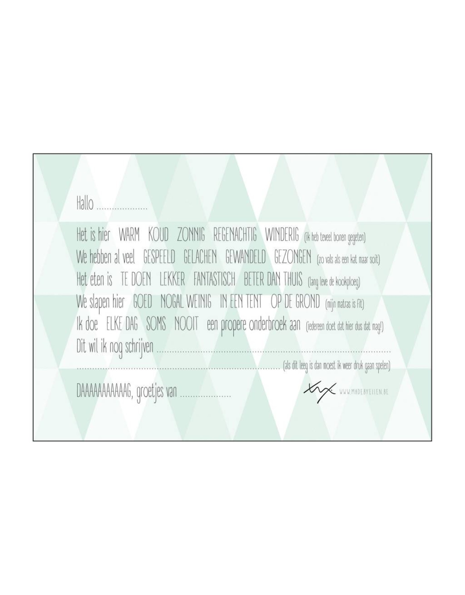 Postkaart invul Groetjes van op kamp driehoeken